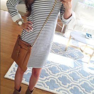 TopShop Striped Grey & White Knit Shift Dress